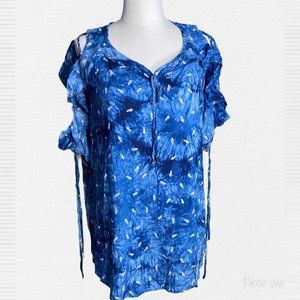 Easel Blue Tie-Dye Feather Cold Shoulder Tunic